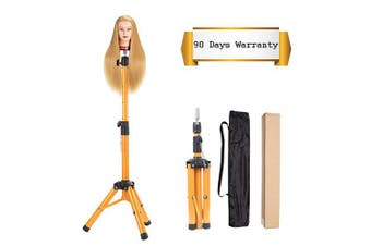 ((Golden)Heavy Duty Wig Stand Tripod) - Heavy Duty Wig Stand Tripod - Alileader Canvas Block Head Tripod Metal Adjustable Tripod Stand Holder for Hairdressing Head Mannequin Manikin Head Tripod(Golden,Mannequin Head Not Included))