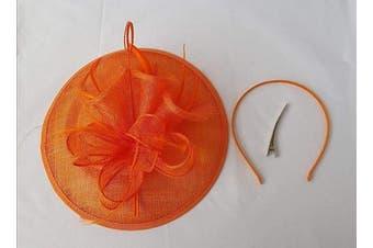 (Orange) - Large Headband and Clip Hat Fascinator Weddings Ladies Day Race Royal Ascot