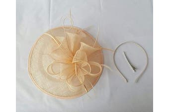 (Peach) - Large Headband and Clip Hat Fascinator Weddings Ladies Day Race Royal Ascot