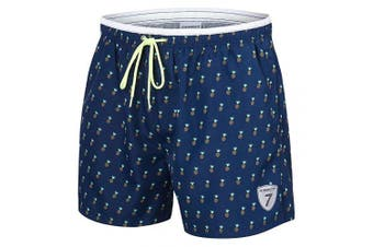 (Navy Pineapple, L) - coskefy Mens Swimming Shorts Solid Leisure Watershorts Swim Trunks (36cm -41cm )