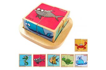 (Marine) - Babe Rock Wooden Block Puzzles Toys Toddler Six Sides Painting Pattern Jigsaw Vehicle Blocks Cube Puzzle Educational Toy Early Learning Kids Childrens Gifts 2-3 Year Old Girl Boy (Marine)