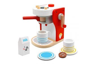 PL Toy Coffee Machine Wooden Toys Cafe Role Play Coffee Maker Pretend Toy Tableware Kitchen Tea Set Toy for Girls Boys 3 4 5 Years