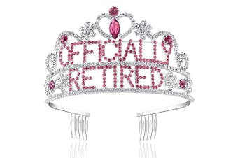(Silver) - Coucoland Womens Officially Retired Tiara Crown and Crown Retired Headband Retired Party Supplies for Women (Silver and Rose Red)