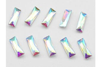 (5x15mm, AB) - Catotrem Baguette Rhinestone Mixed Colour Pointback Crystal Stone Silver Plated for Crystal DIY(5x15mm) AB