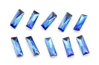 (5x15mm, blue) - Catotrem Baguette Rhinestone Mixed Colour Pointback Crystal Stone Silver Plated for Crystal DIY(5x15mm) Blue