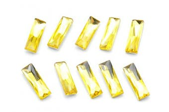 (5x15mm, yellow) - Catotrem Baguette Rhinestone Mixed Colour Pointback Crystal Stone Silver Plated for Crystal DIY(5x15mm) Yellow