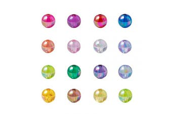 (8mm, AB Colors Acrylic) - Craftdady 200Pcs Transparent AB Colour Plated Tiny Acrylic Round Spacer Beads 8mm Random Mixed Colours for DIY Jewellery Craft Making with 1.5mm Hole