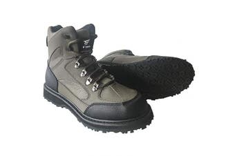 (US 13#) - 8 Fans Men's Fishing Hunting Wading Shoes Anti-Slip Durable Rubber Sole Lightweight Wading Waders Boots