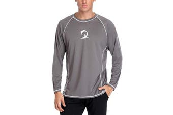 (XX-Large, Gray) - ALove Men Long Sleeve Rash Guard Quick Dry Swim Shirts Sun Protection Athletic Top