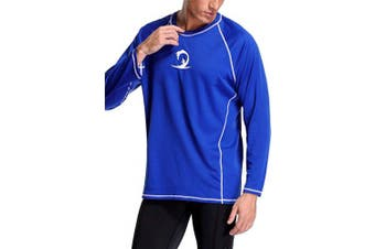 (XX-Large, Blue) - ALove Men Long Sleeve Rash Guard Quick Dry Swim Shirts Sun Protection Athletic Top