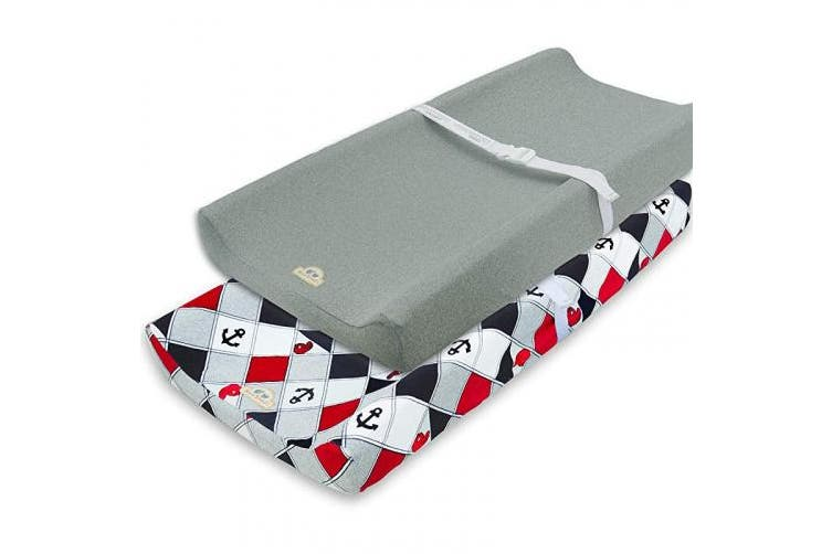 (navy anchor) - Super Soft and Stretchy Changing Pad Cover 2pk by BlueSnail (Navy Anchor)