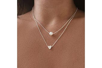 Artmiss Layered Choker Necklace Silver Women Heart Pearl Pendant Necklace Double Chain for Girls