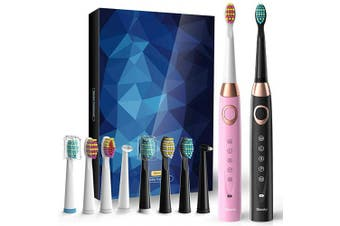 (Black&Pink) - 2 Sonic Electric Toothbrushes 5 Modes 8 Brush heads USB Fast Charge Powered Toothbrush Last for 30 Days, Built-in Smart Timer Rechargeable Toothbrushes for Adults and Kids (1 Black And 1 Pink)