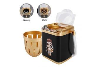 Wakaka Electric Makeup Brush Cleaner Spinner Machine - Electronic Mini Washing Machine Shape Automatic Makeup Brush Cleaner Dries Deep Cleaning Mini Toy, Black Gold