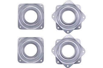 (Silvery) - 4 Pieces 7.6cm Square Lazy Susan Turntable Bearings Rotating Bearing Plate with 70kg Capacity, 0.8cm Thick (Silvery)