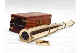 Antique style Hand held spyglass maritime nautical decor brass telescope with rosewood box