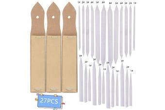 BHAHAI 27 PCS Art Blenders, 24 Paper Blending Stumps and Tortillions Set Sketch Drawing Accessories Art Graphite Blender Stick Tortillions Sandpaper Pencil Pointer with 3 Sandpaper Pencil Sharpener