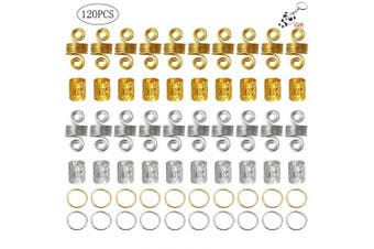 nuoshen 120 Pieces Aluminium Hair Coil Dreadlocks Hair Braid Rings Cuffs, Metal Hair Braiding Beads for Hair Accessory