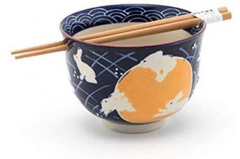 (Rabbit Moon) - Quality Japanese Ramen Udon Noodle Bowl with Chopsticks Gift Set 13cm Diameter (Rabbit Moon)