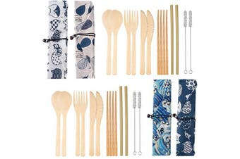 (Style 3) - 4 Set Bamboo Cutlery Set Bamboo Cutlery Flatware Set Include Fork Spoon Knife Chopsticks Straws Brush with Carrying Bag (Style 3)