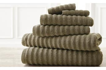 (taupe) - Wavy Luxury Spa collection 6 piece quick dry towel set Taupe