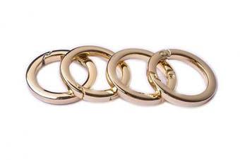 (3.8cm , Light Gold) - Bobeey 4pcs Round Carabiner Metal Spring Key Ring,Spring Snap Hooks Clip,Spring Keyring Buckle,Flat O Ring for Purses BBC40-38-Light Gold