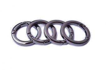 (3.2cm , Black Gun) - Bobeey 4pcs Round Carabiner Metal Spring Key Ring,Spring Snap Hooks Clip,Spring Keyring Buckle,Flat O Ring for Purses BBC40-32-Black Gun