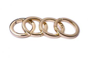(3.2cm , Light Gold) - Bobeey 4pcs Round Carabiner Metal Spring Key Ring,Spring Snap Hooks Clip,Spring Keyring Buckle,Flat O Ring for Purses BBC40-32-Light Gold