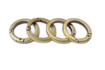 (3.8cm , Burshed Brass) - Bobeey 4pcs Round Carabiner Metal Spring Key Ring,Spring Snap Hooks Clip,Spring Keyring Buckle,Flat O Ring for Purses BBC40-38-Brushed Brass
