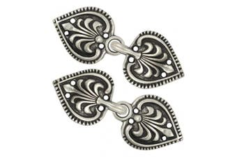 (Antique Silver) - Bezelry 6 Pairs Baroque Spade Hook and Eye Cloak Clasp Fasteners 48mm x 19mm Fastened. (Antique Silver)