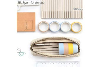 (White) - Pencil Pen Case, Dobmit Big Capacity Pencil Pouch Canvas Makeup Bag for Girls and Boys Durable Office Stationery Organiser - Beige