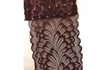 """(Brown) - TR04 10 Yards 6"""" (15CM) Width Stretch Polyester Embroidery Sequins Floral Pattern Elastic Lace Trim DIY Craft Supply Clothing Accessories All Colours (Brown)"""