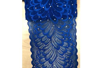 """(Royal Blue) - TR04 10 Yards 6"""" (15CM) Width Stretch Polyester Embroidery Sequins Floral Pattern Elastic Lace Trim DIY Craft Supply Clothing Accessories All Colours (Royal Blue)"""