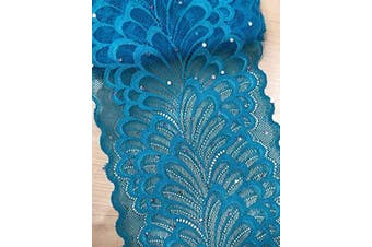 """(Aqua Blue) - TR04 10 Yards 6"""" (15CM) Width Stretch Polyester Embroidery Sequins Floral Pattern Elastic Lace Trim DIY Craft Supply Clothing Accessories All Colours (Aqua Blue)"""