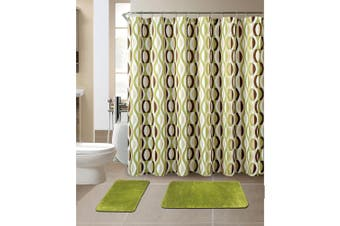 (Helix Sage) - All American Collection New 15 Piece Bathroom Mat Set Memory Foam with Matching Shower Curtain