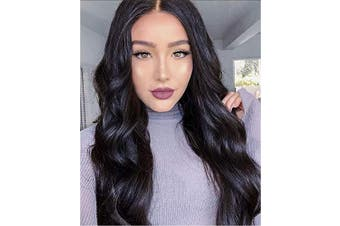 (Natural Black) - Alimice Long Wavy Wigs Black Synthetic Wigs for Women Natural Looking Black Wavy Wig Long Wavy Middle Part Heat Resistant Replacement Wig Black Full Wig