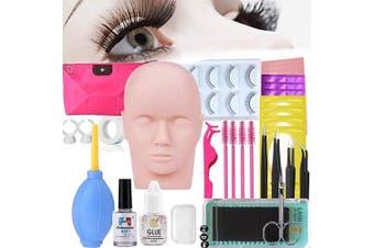Eyelash Extension kit, MISSICEE Professional Mannequin Head Training Eyelashes for False Eyelashes Extensions, Massage Practising, Practise Make Up with a Bag