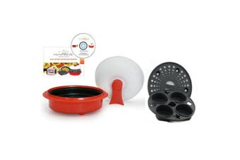 Microhearth 1.4l Nonstick 4-piece Everyday Pan Set for Microwave Cooking, Red