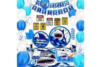 (Blue Shark) - WERNNSAI Shark Party Supplies Set – Blue Ocean Pool Party Decorations for Boys Kids Birthday Banner Signs Balloons Cutlery Bag Tablecloth Plates Cups Napkins Straws Utensils Serves 16 Guests 175 PCS