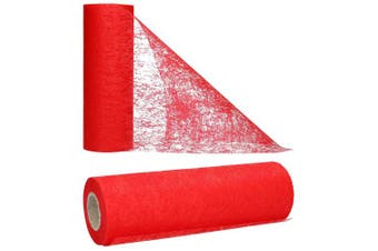 (Red) - AmaCasa table runner Non-woven table ribbon flower decoration wedding communion 23cm / 25m roll (red)