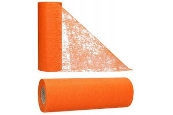 (Orange) - AmaCasa table runner Non-woven table ribbon flower decoration wedding communion 23cm / 25m roll (orange)