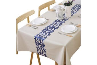 (137x200 cm, Rattan) - Plenmor Heavy Duty Vinyl Tablecloth for Rectangle Table Wipe Clean PVC Table Cloth Oil-Proof/Waterproof Stain-Resistant/Mildew-Proof (Rattan, 137x200 cm)