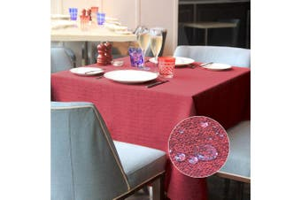 (Red, 140*240) - LUOLUO Rectangular Table Cloth Waterproof Tablecloths Wipeable Washable Linen Fabric Tablecloth for Dining Table Covers,Party Tabe Cloths-Red 140cmx240cm