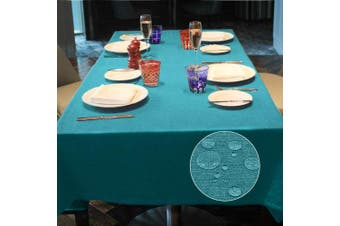 (Blue, 145*300) - LUOLUO Rectangular Tablecloth Stain Proof Waterproof Washable Linen Fabric Tablecloth Wipable Tablecloth for Dining Table Covers Party Table Cloths-Blue 145x300cm