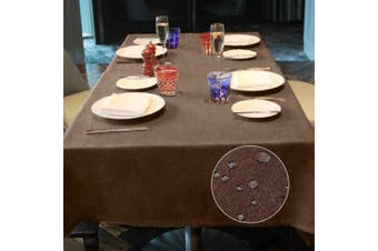 (Brown, 140*180) - LUOLUO Rectangular Table Cloth Waterproof Tablecloths Wipeable Washable Linen Fabric Tablecloth for Dining Table Covers,Party Tabe Cloths-Brown 140cmx180cm