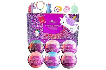 (Unicorn) - Unicorn Bubble Bath Bombs for Girls with Surprise Toys Inside by Two Sisters Spa. 6 Large 99% Natural Fizzies in Gift Box. Moisturises Dry Sensitive Skin. Releases Colour, Scent, and Bubbles.