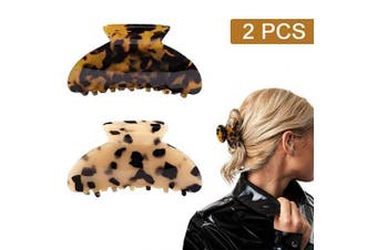 (Leopard Clip) - 2PCS Hair Claw Banana Clips tortoise Barrettes Celluloid French Design Barrettes celluloid Leopard print Large Fashion Accessories for Women Girls