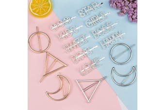 EAONE Words Hair Clips 16Pcs, Sparkle Hair Clip Hairpins Crystal Rhinestones Bobby Pins Hair Accessories (Golden, Silver) for Girls Women