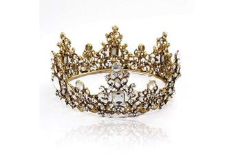 Brishow Baroque Queen Crowns Gold Princess tiaras Black Rhinestone Wedding Tiara and crowns for Women and Girls