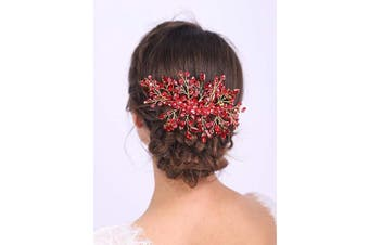 (Red) - Aimimier Bridal Hair Comb Red Crystal Wedding Comb Ruby Crown with Marquise Wedding Headpiece Bridesmaid Hair Accessories for Women and Girls